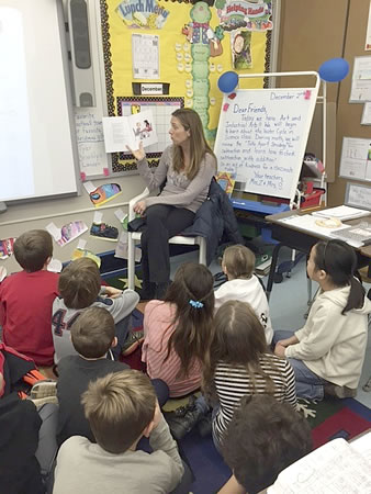 Samantha reading to 2nd grade class